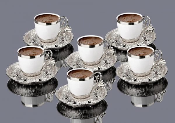 Silver Color Cream Porcelain Luxury Coffee Set