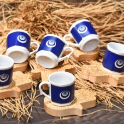 Evil Eye Coffee Set With Wood Hamsa Hand Saucers