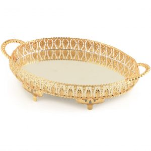 Golden Oval Mirror Vanity Serving Tray