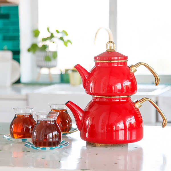 Red Color Glory Enamel Turkish Tea Pot Kettle