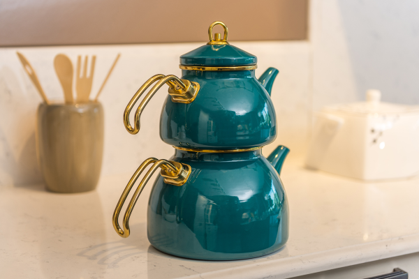 Turquois Color Glory Enamel Turkish Tea Pot Kettle