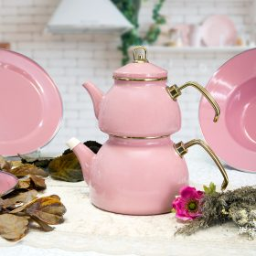 Pink Color Glory Enamel Turkish Tea Pot Kettle