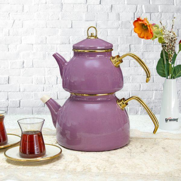 Purple Color Glory Enamel Turkish Tea Pot Kettle