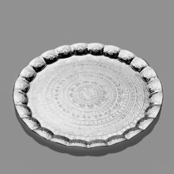 Ahsen Silver Color Large Metal Serving Tray 35 cm