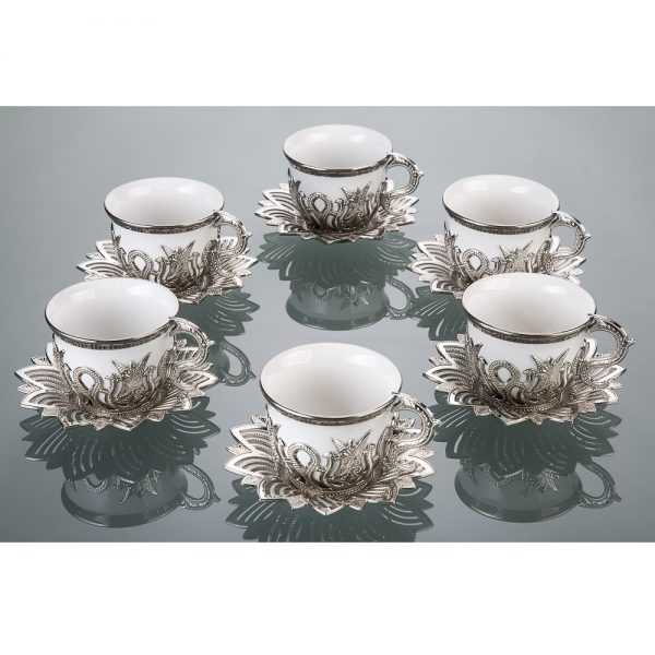 Tulip Design Silver-White Color Cups For Six
