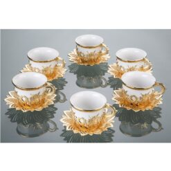 Tulip Design Gold-White Color Cups For Six