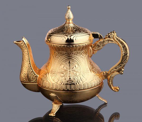 Gold Color Ahsen Zinc Casting Tea Pot