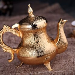 Gold Color Ahsen Zinc Casting Tea Pot