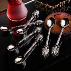 12 Pcs Ahsen Silver Color Metal Tea Spoons