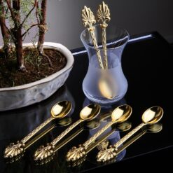 12 Pcs Ahsen Gold Color Metal Tea Spoons