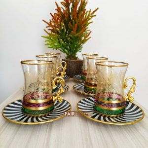 Didar Black and White Tea Set For Six Person