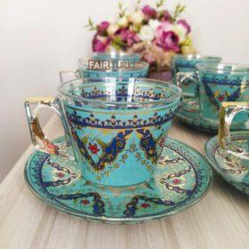 Vela Turquois Coffee Mugs-Tea Glasses For Six Person