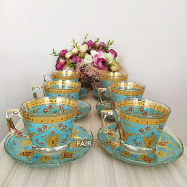 Defne Turquois-Gold Coffee Mugs-Tea Glasses Set