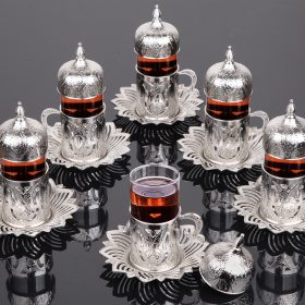 Silver Color Tea Cups Tulip Design Six Pieces
