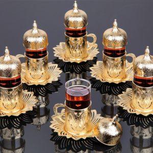 Gold Color Tea Cups Tulip Design Six Pieces