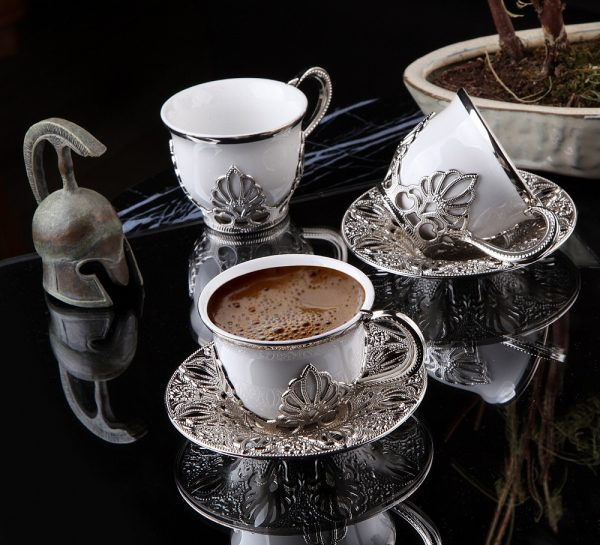 Ahu Silver-White Color Coffee Cups Set