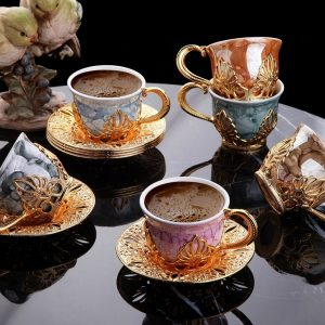 Ahu Colorful Marble Design Gold Color Coffee Cups Set