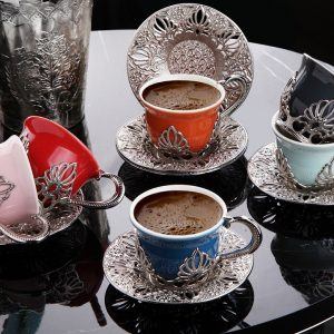 Ahu Colorful Model Silver Color Coffee Cups Set
