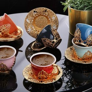 Ahu Colorful Model Gold Color Coffee Cups Set