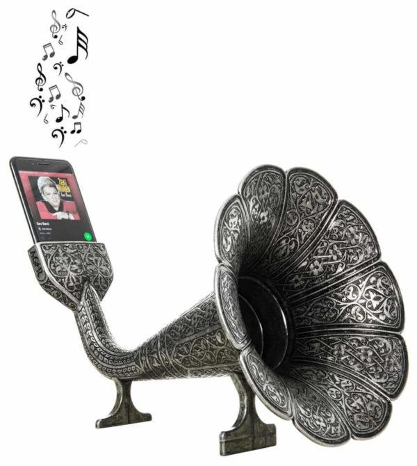 Gray Color Gramophone Design Metal Sound Booster