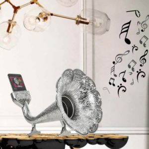 Silver Color Gramophone Design Metal Sound Booster