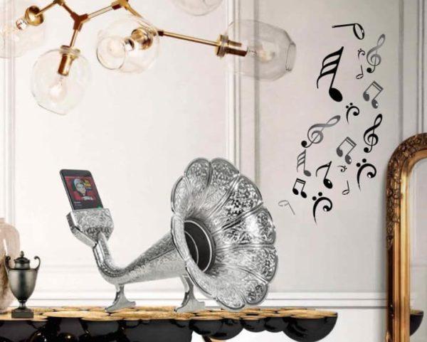 Silver Color Gramophone Design Metal Sound Booster