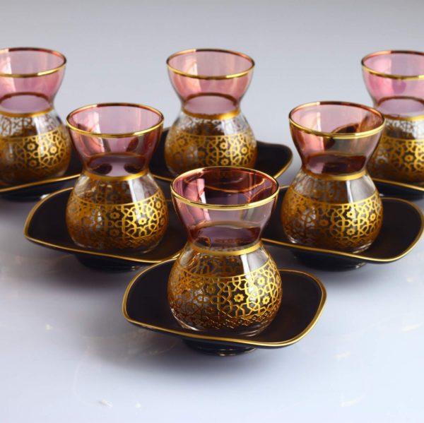 Carved Pink Color Ottoman Tea Set With Black Saucers
