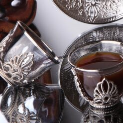 Ahsen Silver Color Mirra - Gahwa Cups Six Pieces