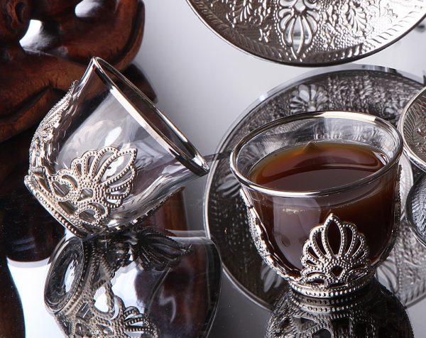 Ahsen Silver Color Mirra - Gahwa Cups Six Pieces