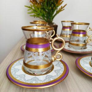 12 Pcs Purple Color Lace Turkish Tea Set