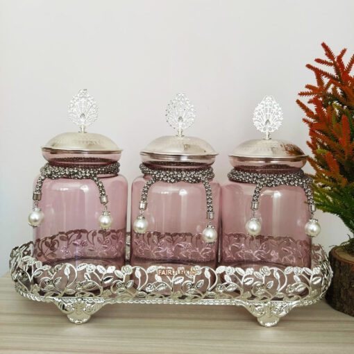 Silver Color Jar Set For Three With Metal Stand