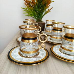 12 Pcs Black Color Lace Turkish Tea Set