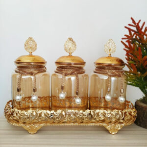 Gold Color Jar Set For Three With Metal Stand