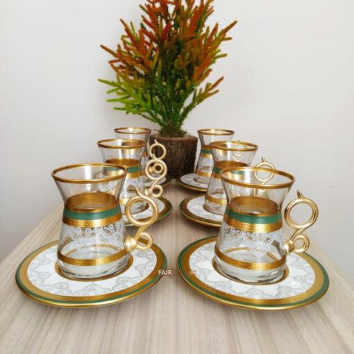 12 Pcs Green Color Lace Turkish Tea Set