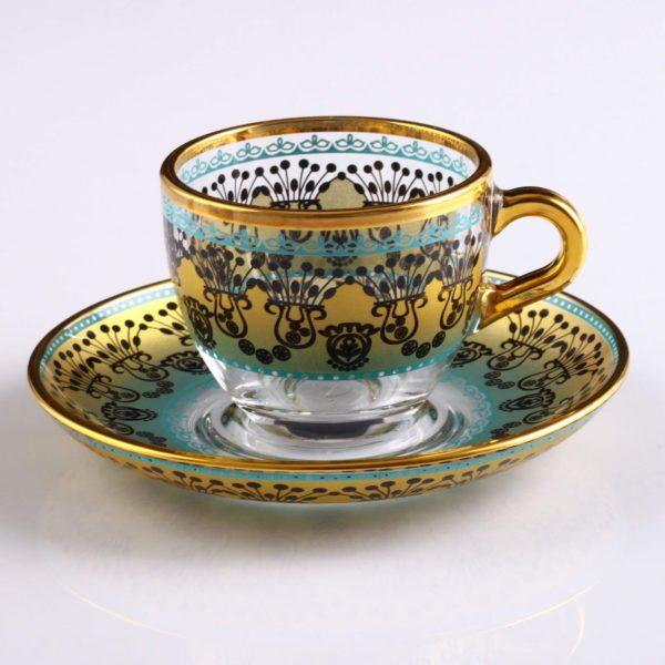 Sumeyye Yellow Espresso Size Turkish Coffee Set