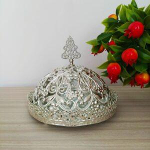 Floral Desing Silver Color Mirror Arabic Snack Bowl
