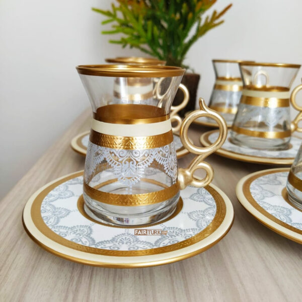 12 Pcs Cream Color Lace Turkish Tea Set