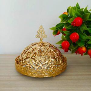 Floral Desing Gold Color Mirror Arabic Snack Bowl