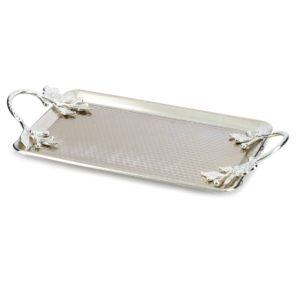 Silver Color Hammered Metal Serving Tray For 2 Cups