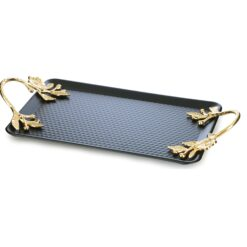 Black Color Hammered Metal Serving Tray For 2 Cups