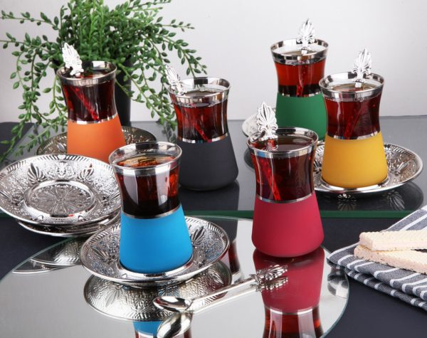 Silver Color Safa Colorfull Tea Set With Spoons