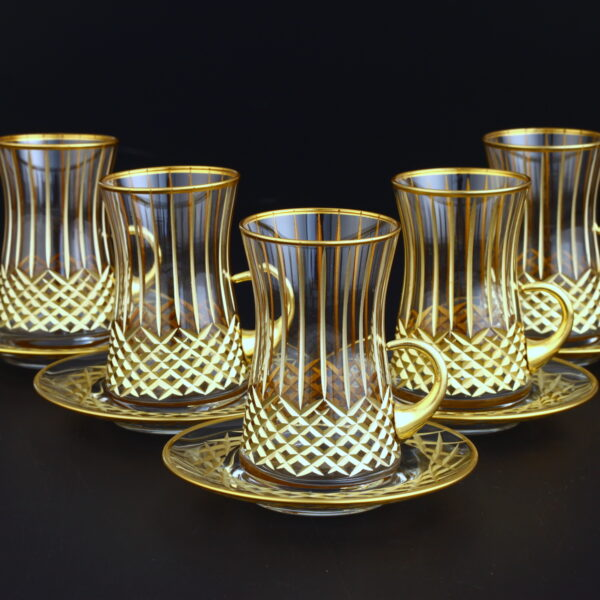 12 Pcs Gold Color Cross Cutting Turkish Tea Set