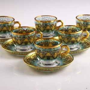 Sumeyye Yellow Espresso Size Turkish Coffee Set