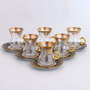 12 Pcs Thin Waist Nilay Turkish Tea Set With Holder