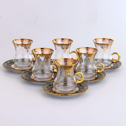 12 Pcs Thin Waist Nilay Turkish Tea Set With Holder