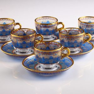 Sumeyye Blue Espresso Size Turkish Coffee Set