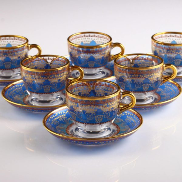Sumeyye Blue Espresso Size Turkish Coffee Set