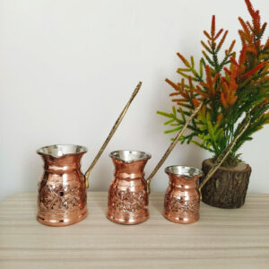 Hand Carved Copper Coffee Pots Set For Three