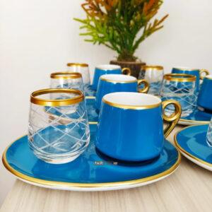 18 Pcs Large Plate Turquoisse Coffee Serving Set