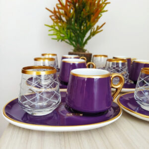 18 Pcs Large Plate Purple Coffee Serving Set